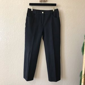 St. John Black Mid Rise Straight Leg Pants